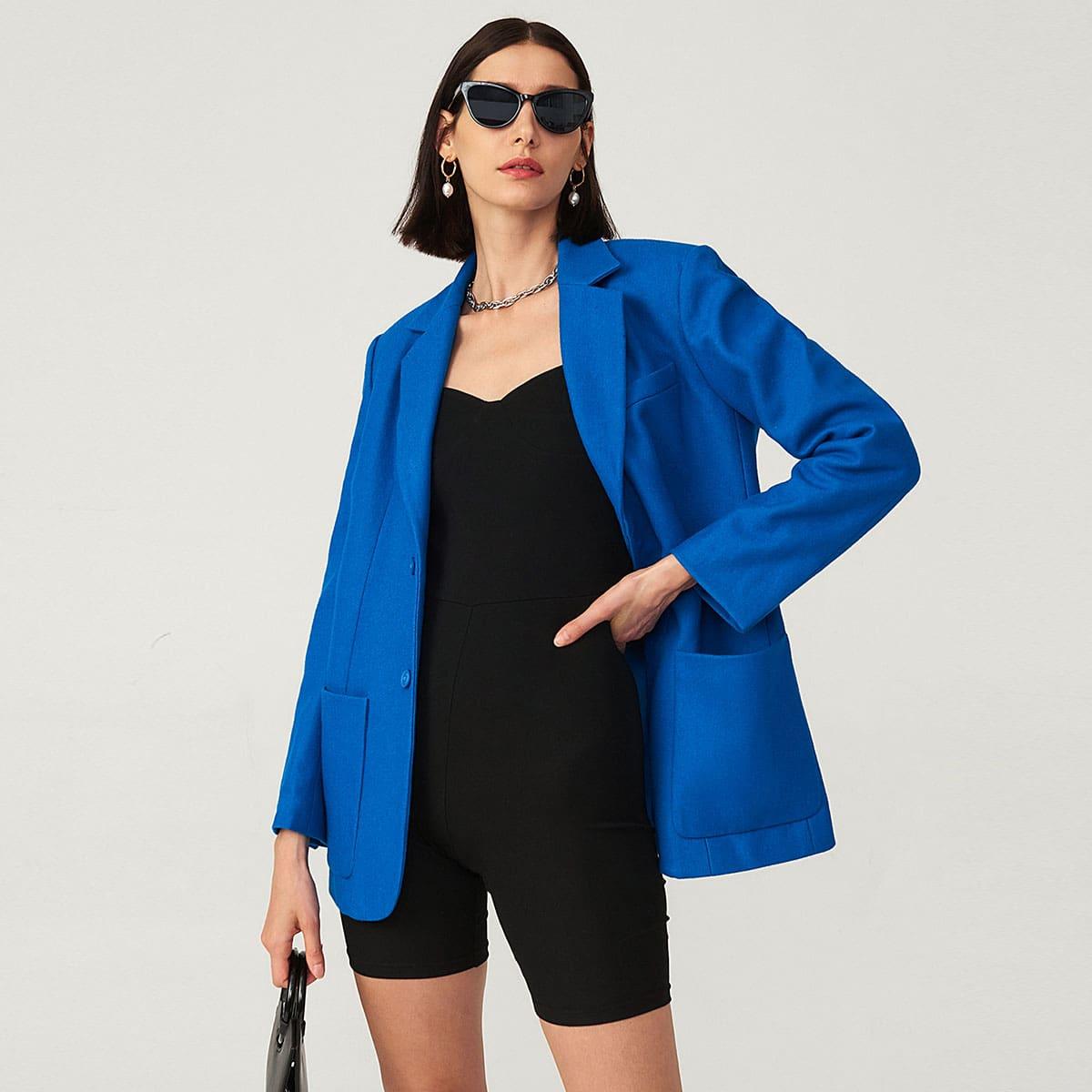 Пиджак из смесовой шерсти оверсайз с карманом