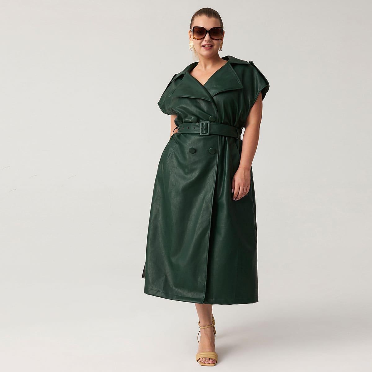 Платье оверсайз из искусственной кожи с поясом размера плюс