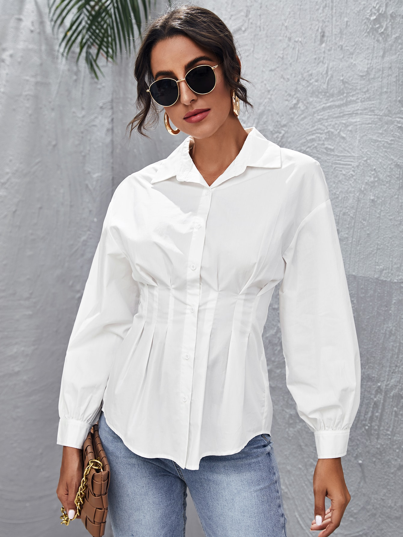 Fold Pleated Lantern Sleeve Blouse thumbnail