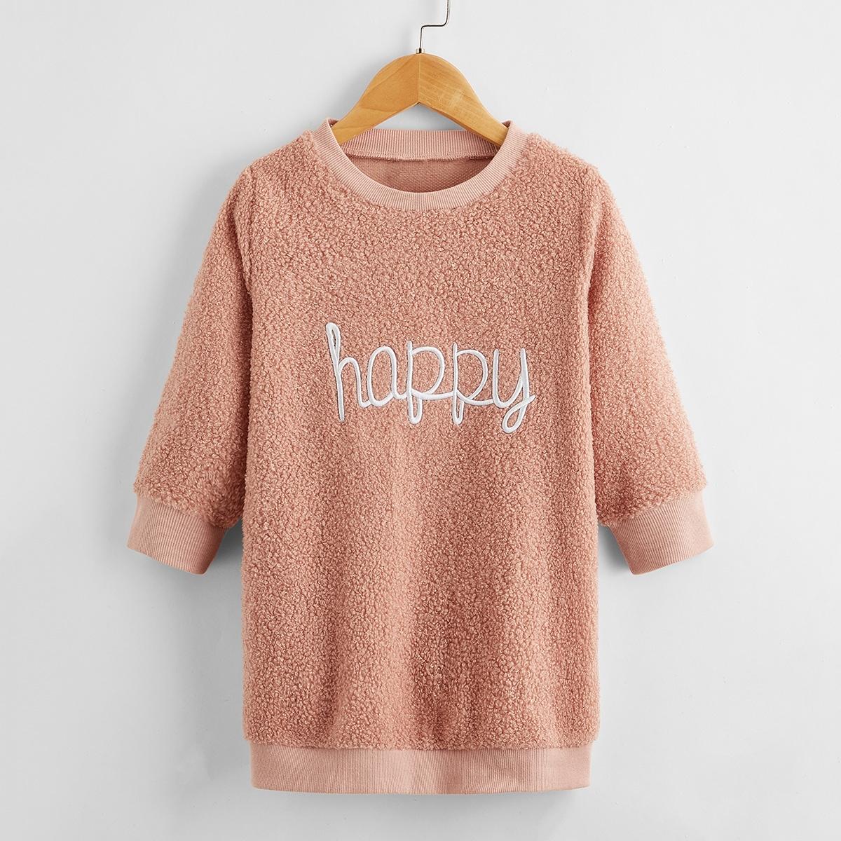 Плюшевое платье-свитшот с текстовой вышивкой для девочек