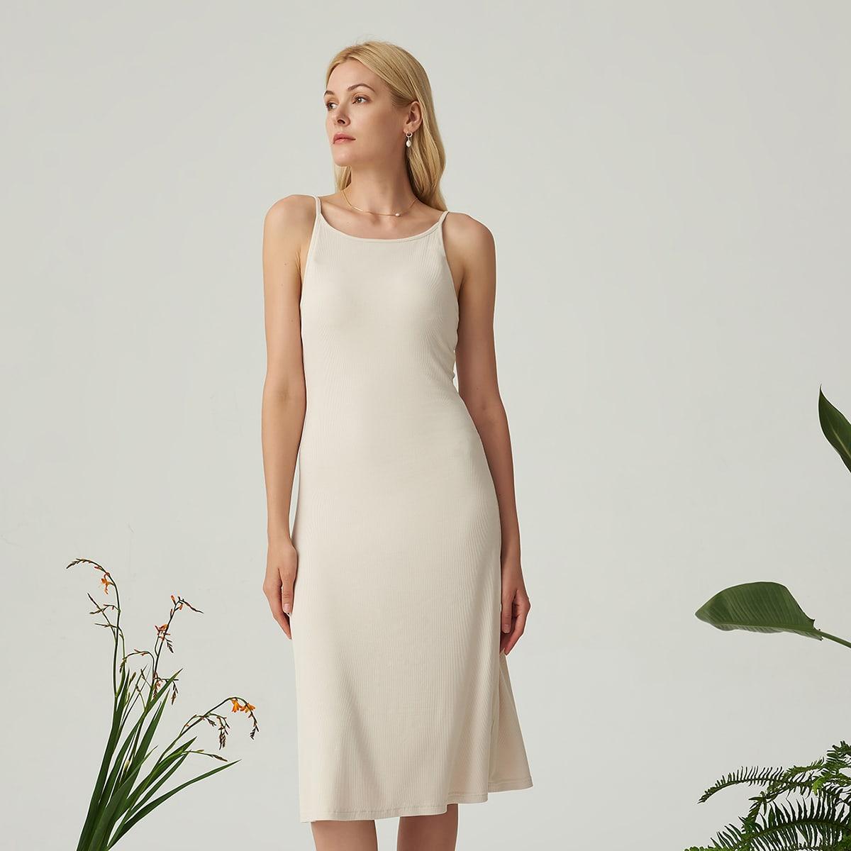 Платье из вискозы на бретелях в рубчик