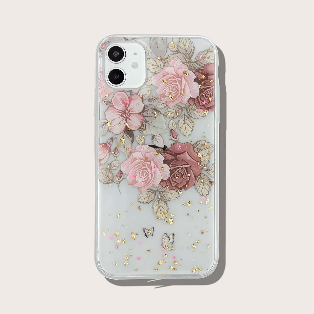 Gold Foil Decor Flower Print Clear iPhone Case, SHEIN  - buy with discount