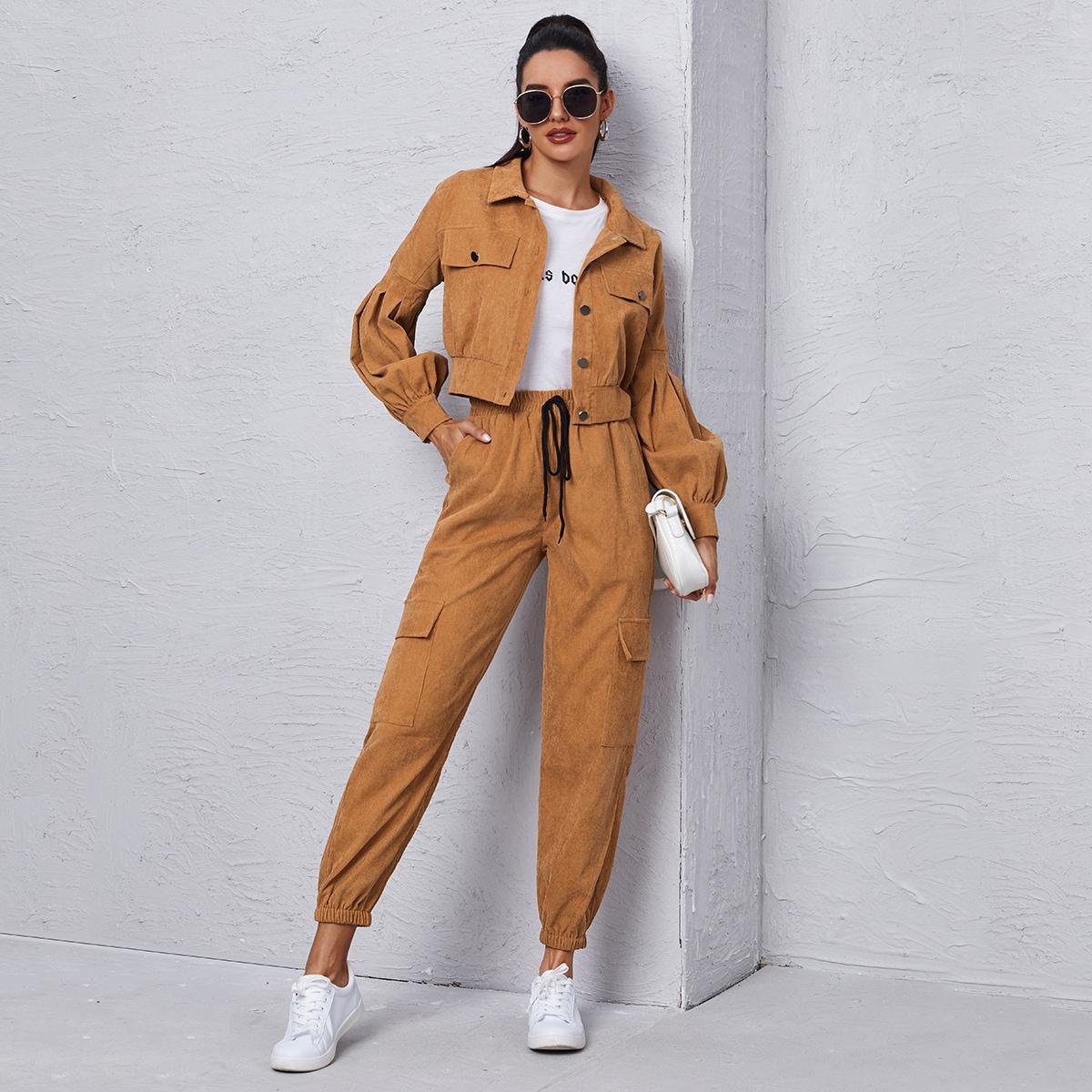 Вельветовая куртка и брюки карго с узлом SheIn swtwop23200909529