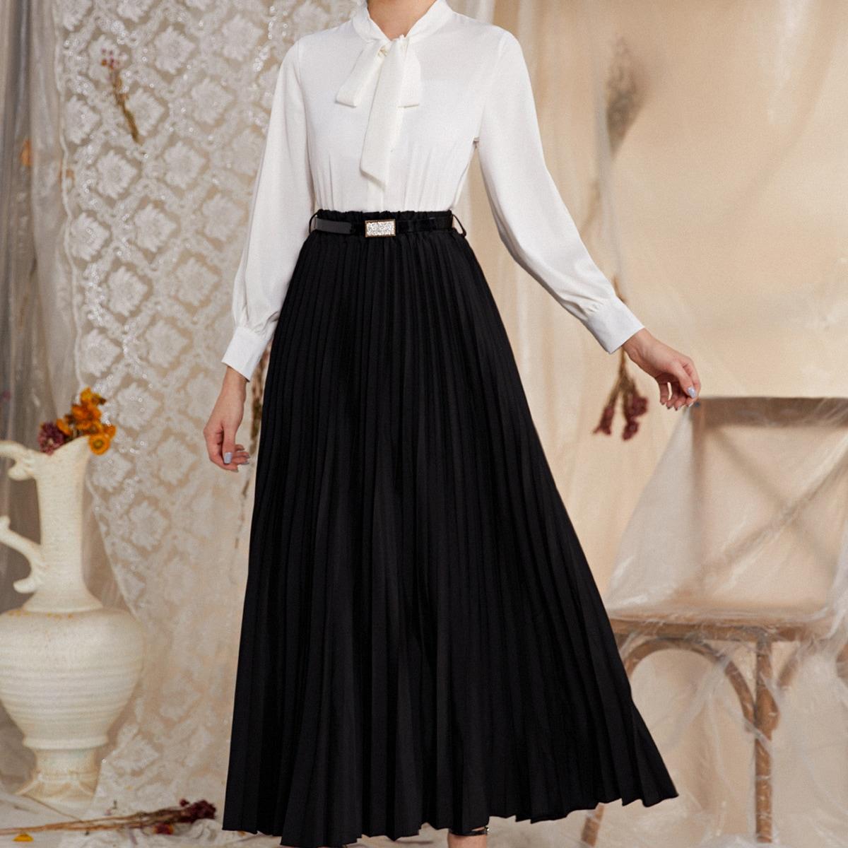 Плиссированная юбка макси с поясом