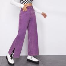 Slit Hem Wide Leg Jeans