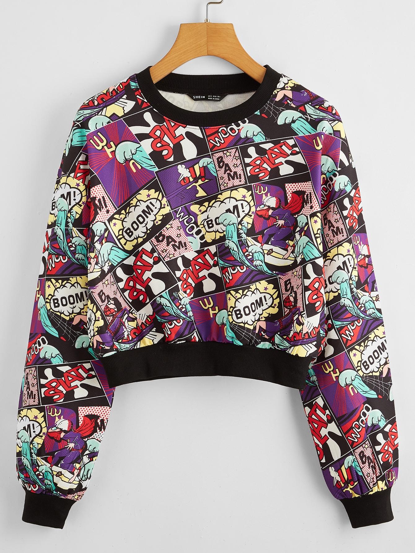 Drop Shoulder Pop Art Print Pullover thumbnail
