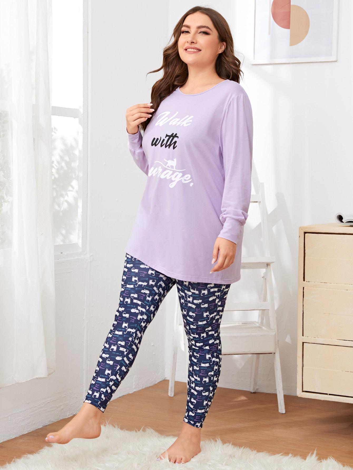 Plus Slogan Graphic Tee and Cat Print Leggings PJ Set thumbnail