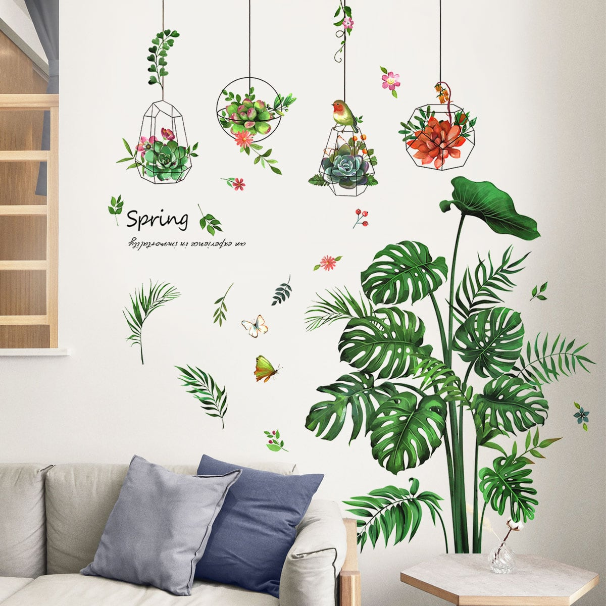 Pegatina de pared con estampado de planta