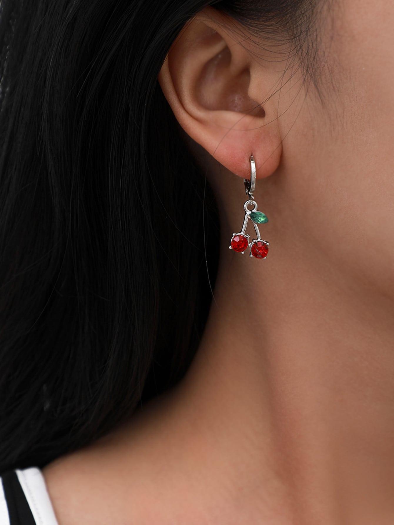 Rhinestone Decor Cherry Charm Drop Earrings thumbnail
