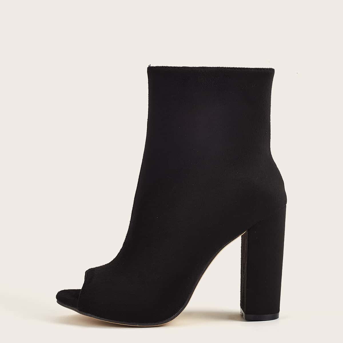 Peep Toe Chunky Heeled Sock Boots