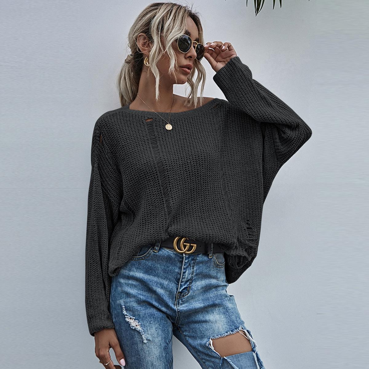 Рваный свитер оверсайз