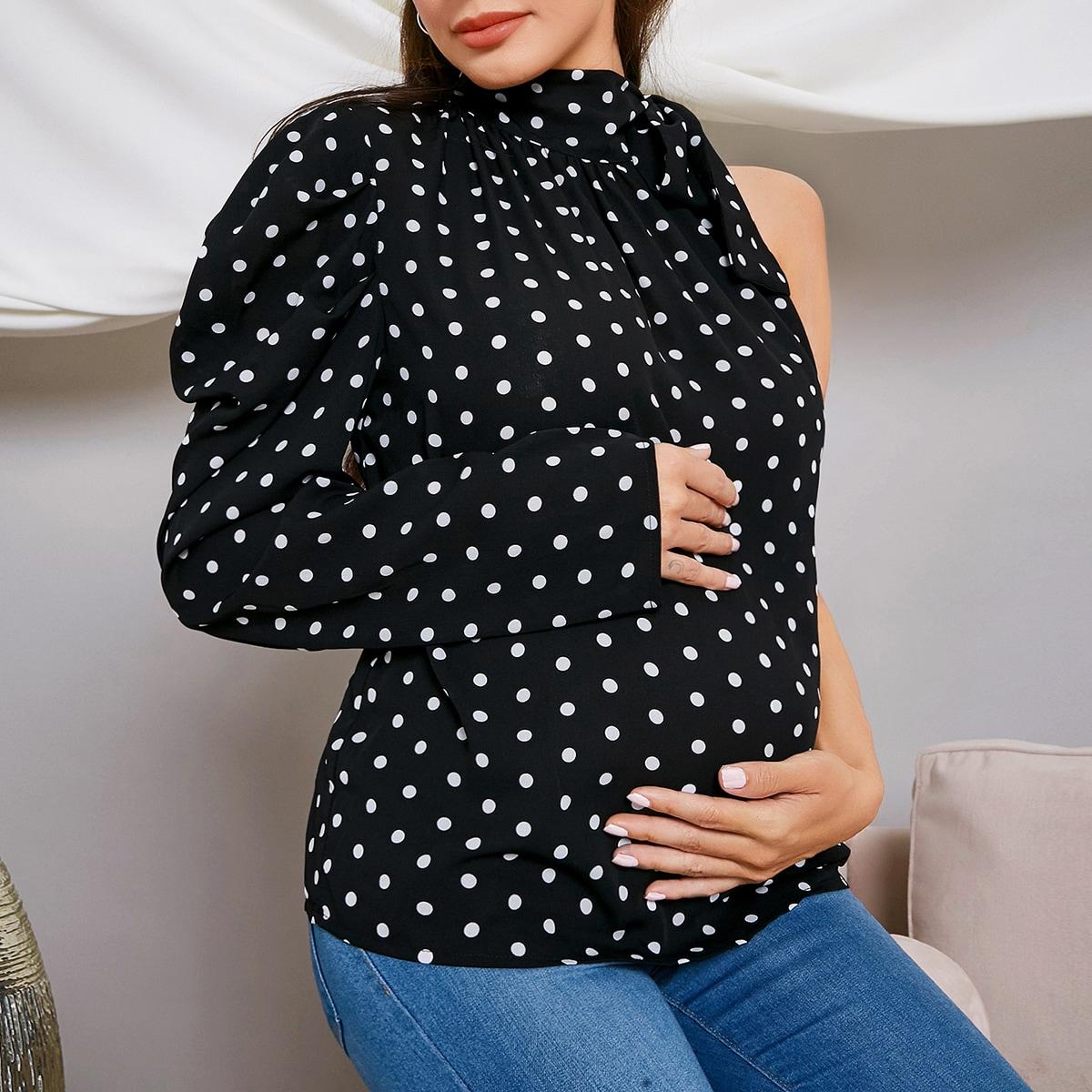 В горошёк элегантный блузы для беременных