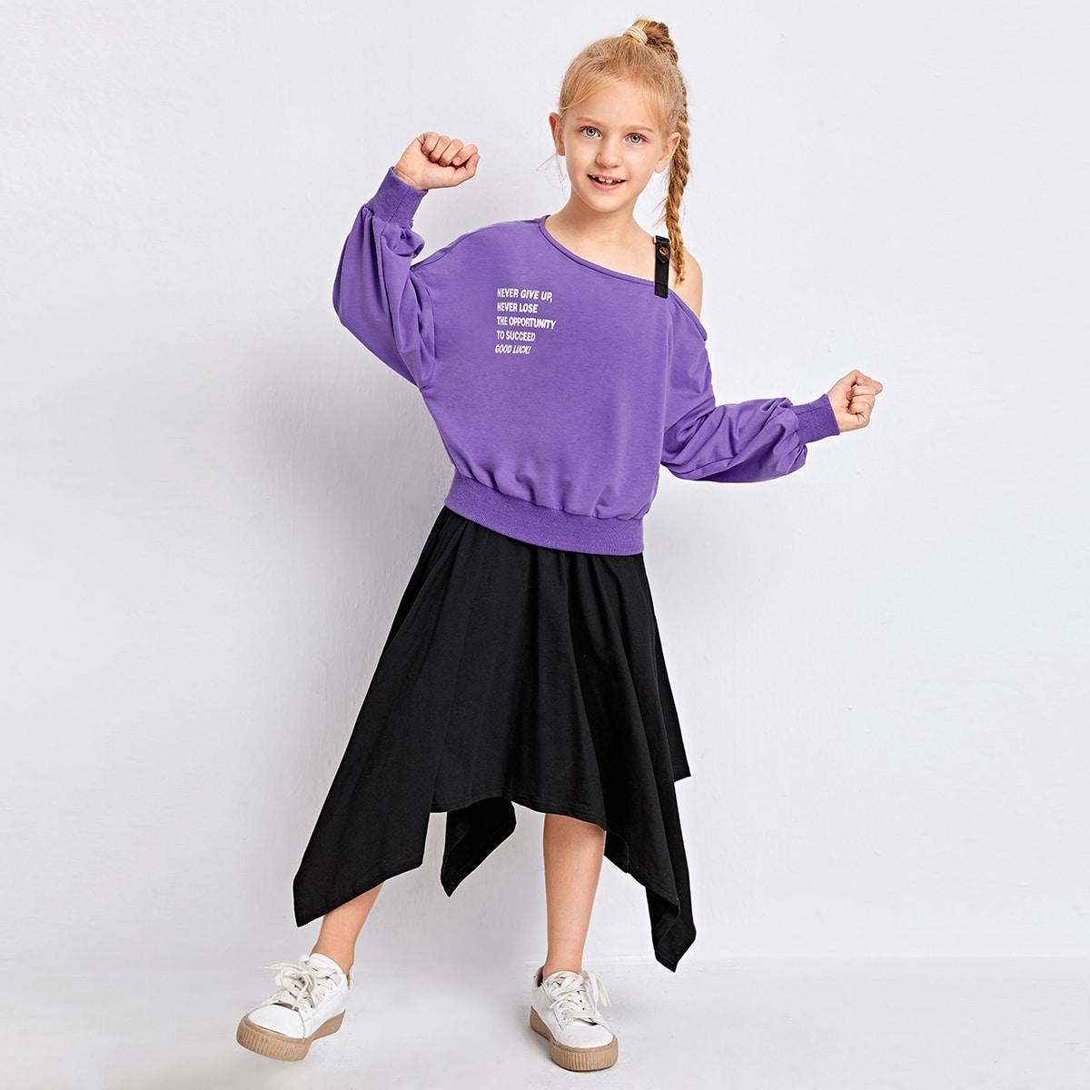 Юбка и пуловер с текстовым принтом для девочек
