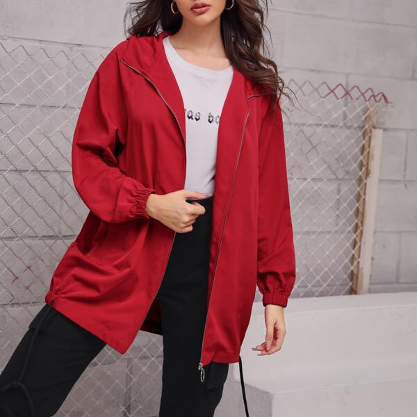 O-ring Zip Back Drawstring Hem Hooded Jacket, Red bright