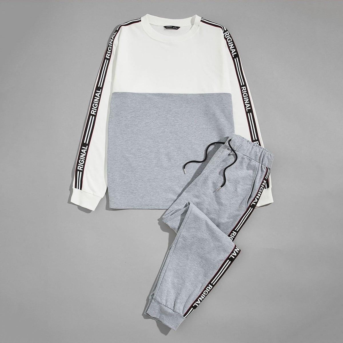 Мужской контрастный пуловер и джоггеры с текстовой лентой