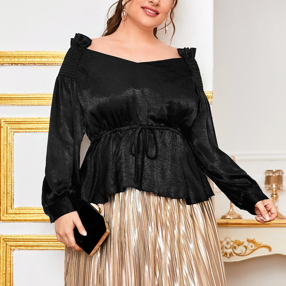 Низ-оборка одноцветный элегантный блузы размер плюс