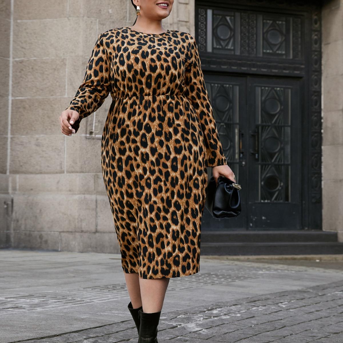 Платье миди размера плюс с леопардовым принтом