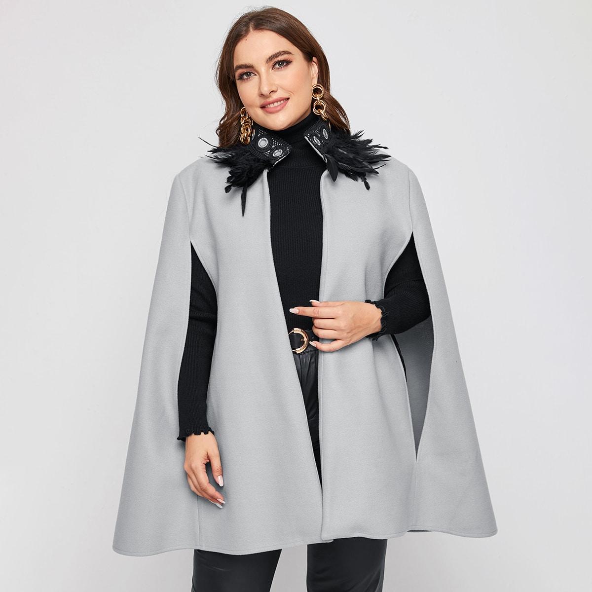 Контрастные кружева Элегантный Плюс размеры пальто