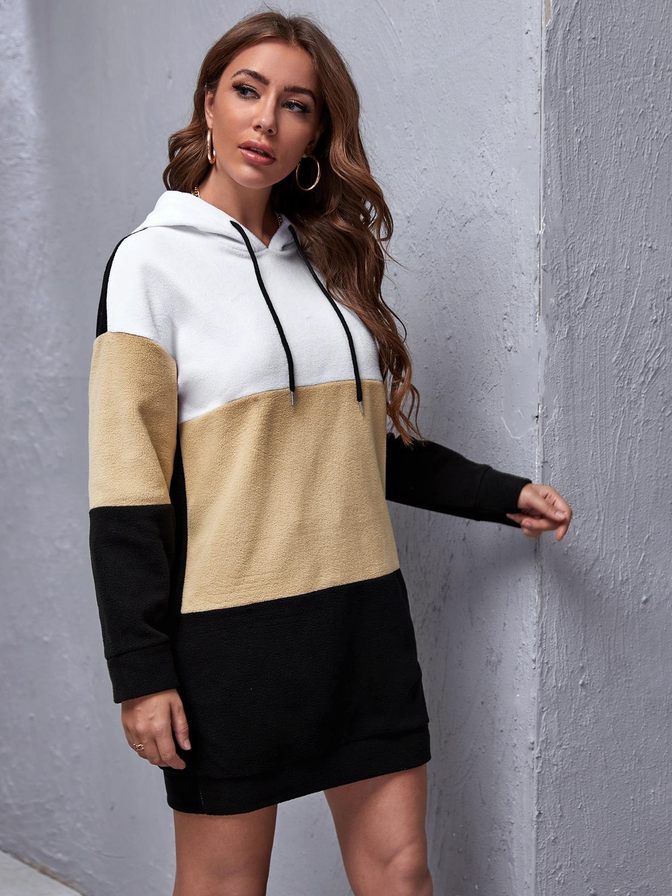 Color Block Drawstring Hooded Teddy Sweatshirt Dress thumbnail