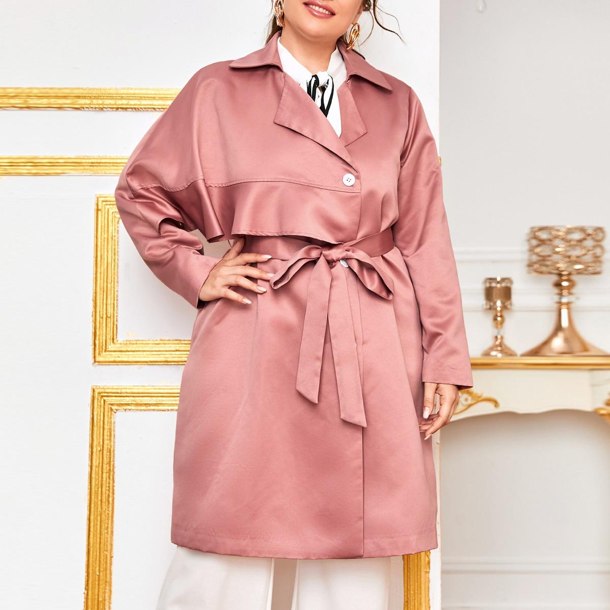 С поясом одноцветный элегантный плюс размеры пальто