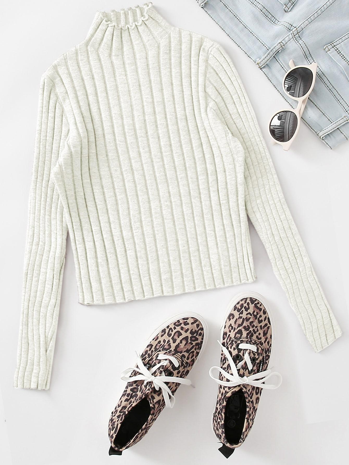 Mock Neck Lettuce Trim Rib-knit Sweater thumbnail