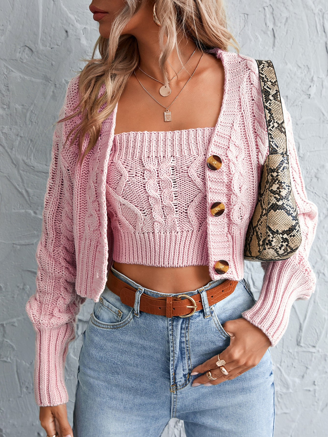 Drop Shoulder Crop Cardigan With Camisole thumbnail