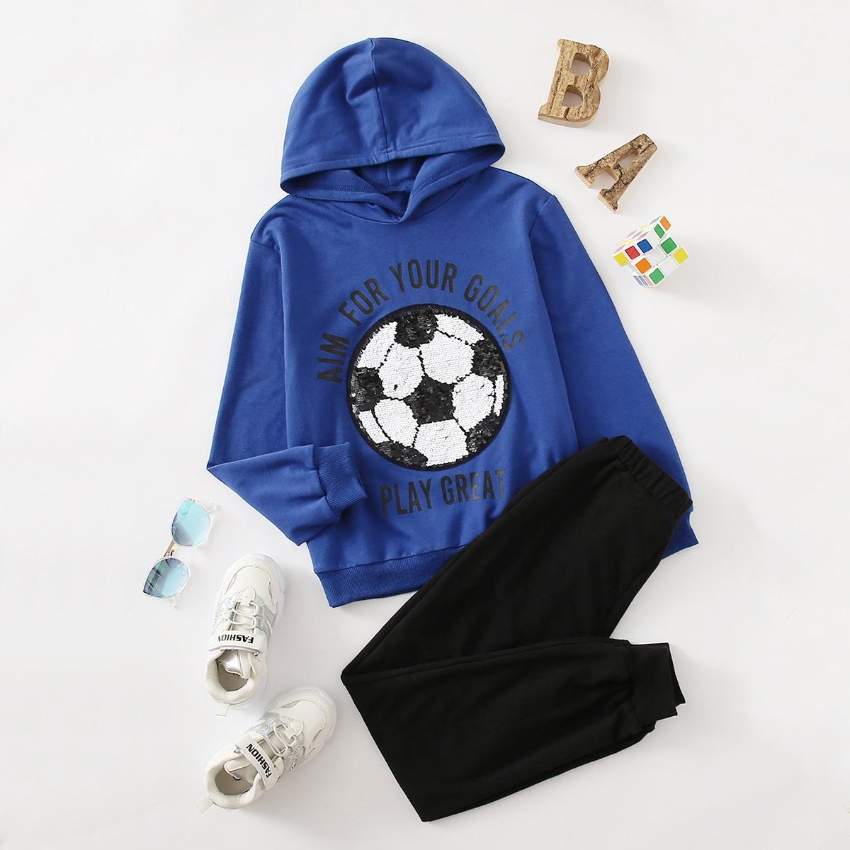 Спортивные брюки и толстовка с текстовым принтом, блестками для мальчиков