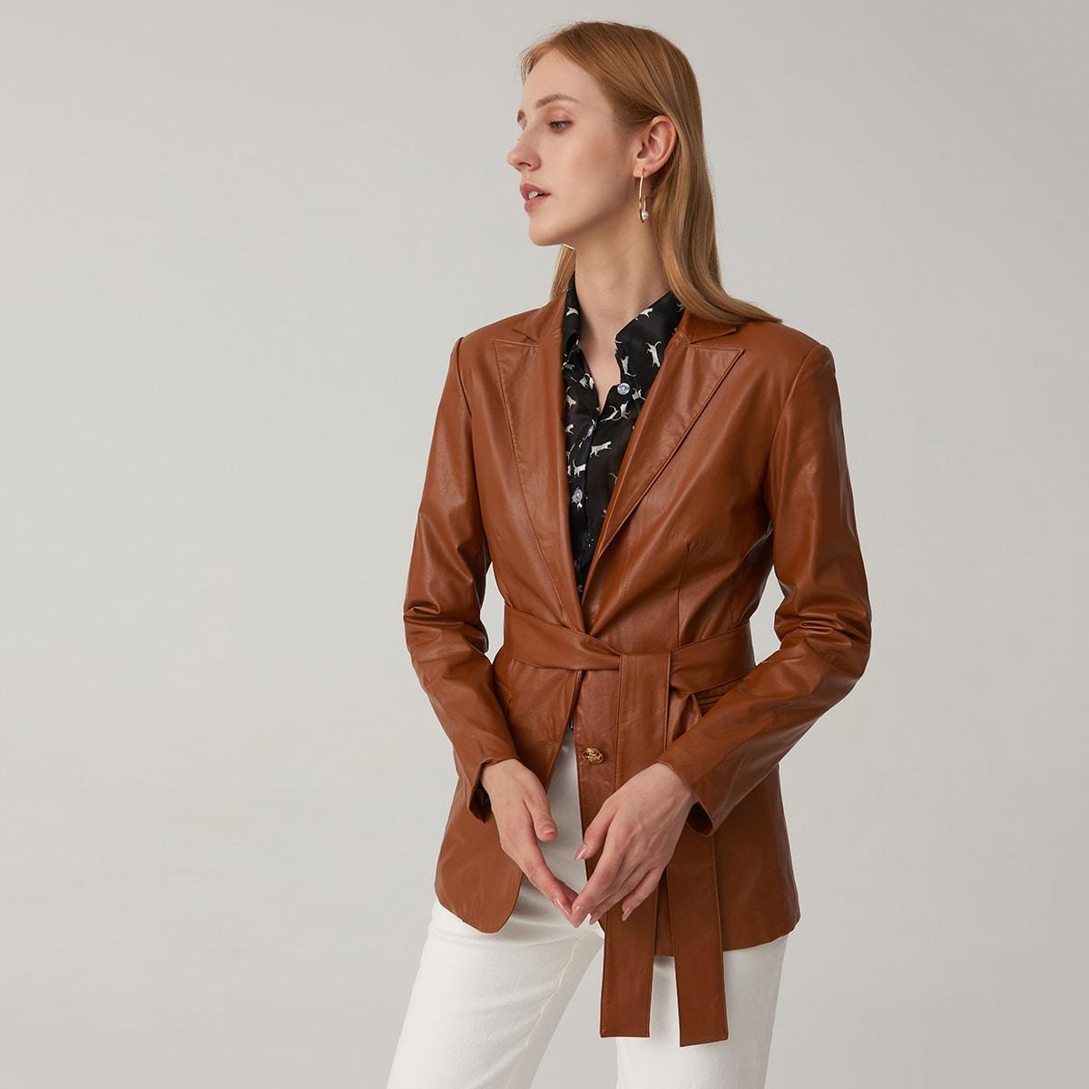 Пиджак из искусственной кожи с лацканом
