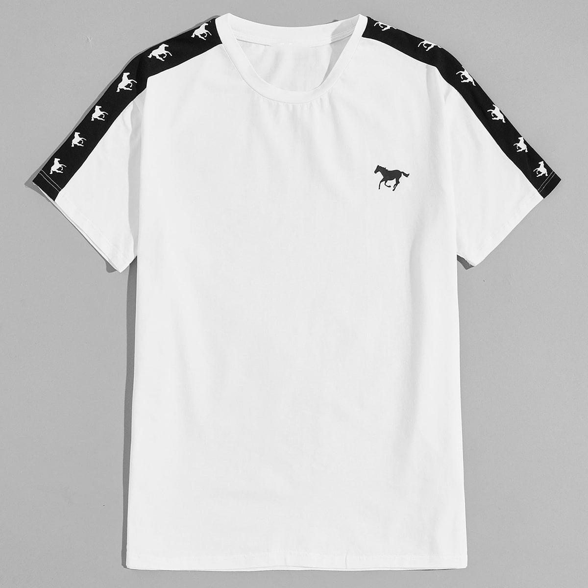Мужская футболка с принтом лошади