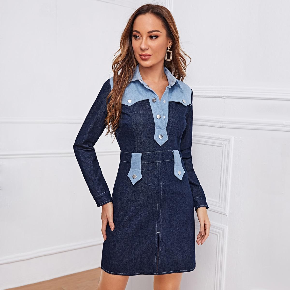 Двухцветное джинсовое платье-рубашка