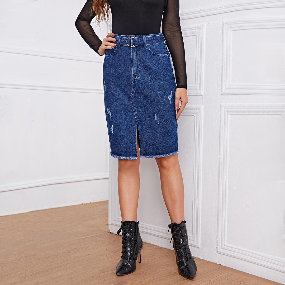 Джинсовая юбка с поясом и высокой талией