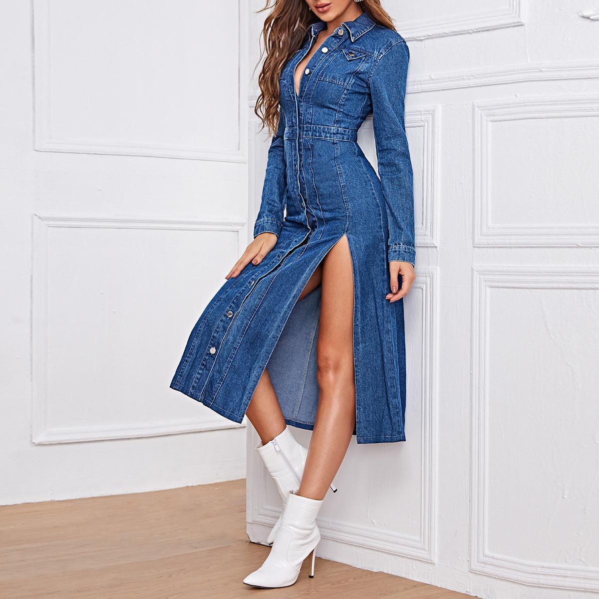 Джинсовое платье-рубашка с разрезом