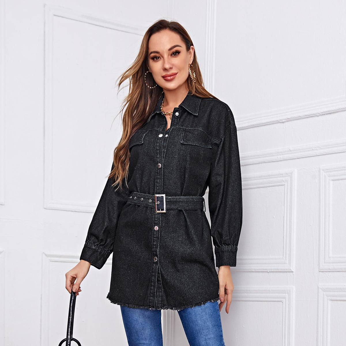 Джинсовая куртка с поясом и пуговицами