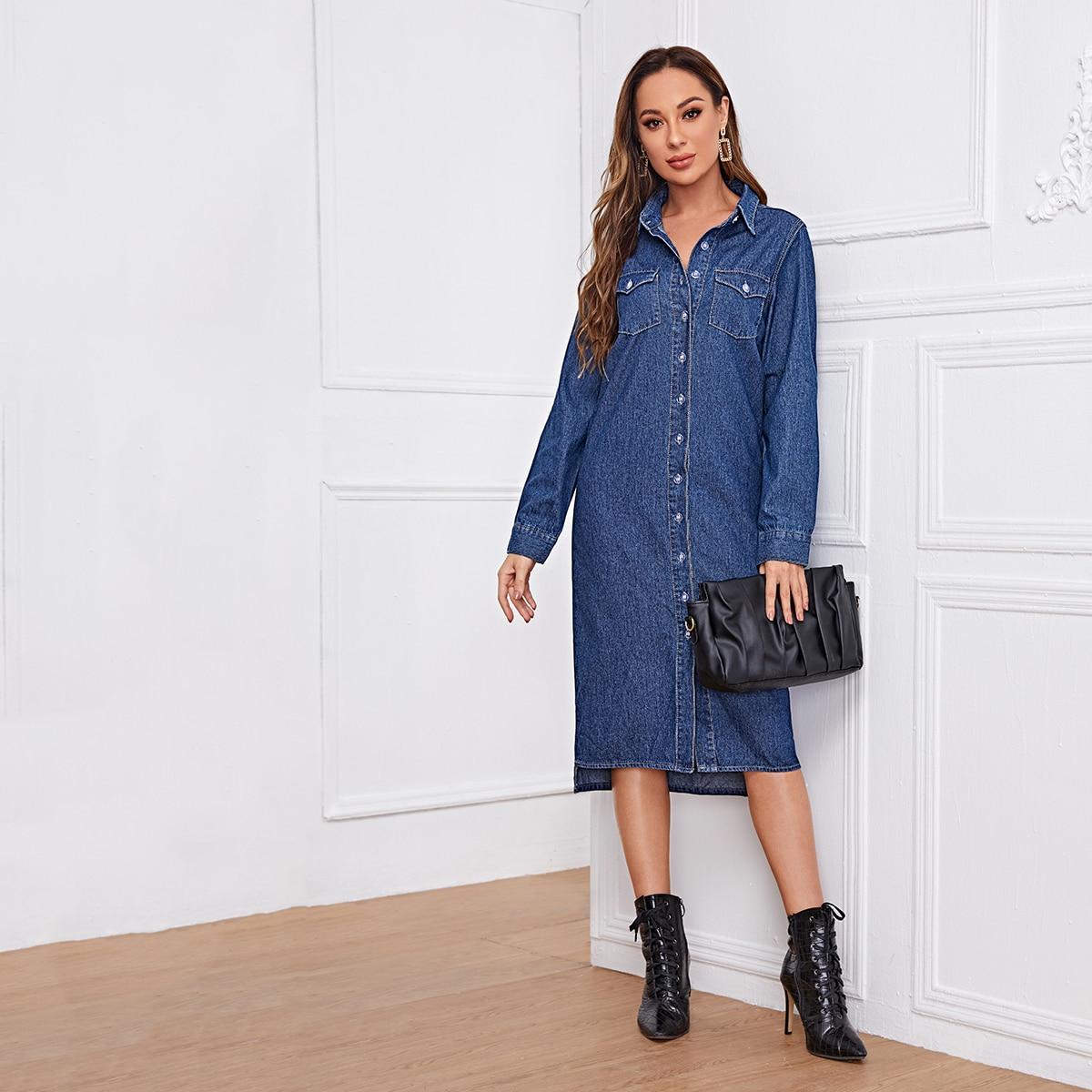 Асимметричное джинсовое платье с карманом