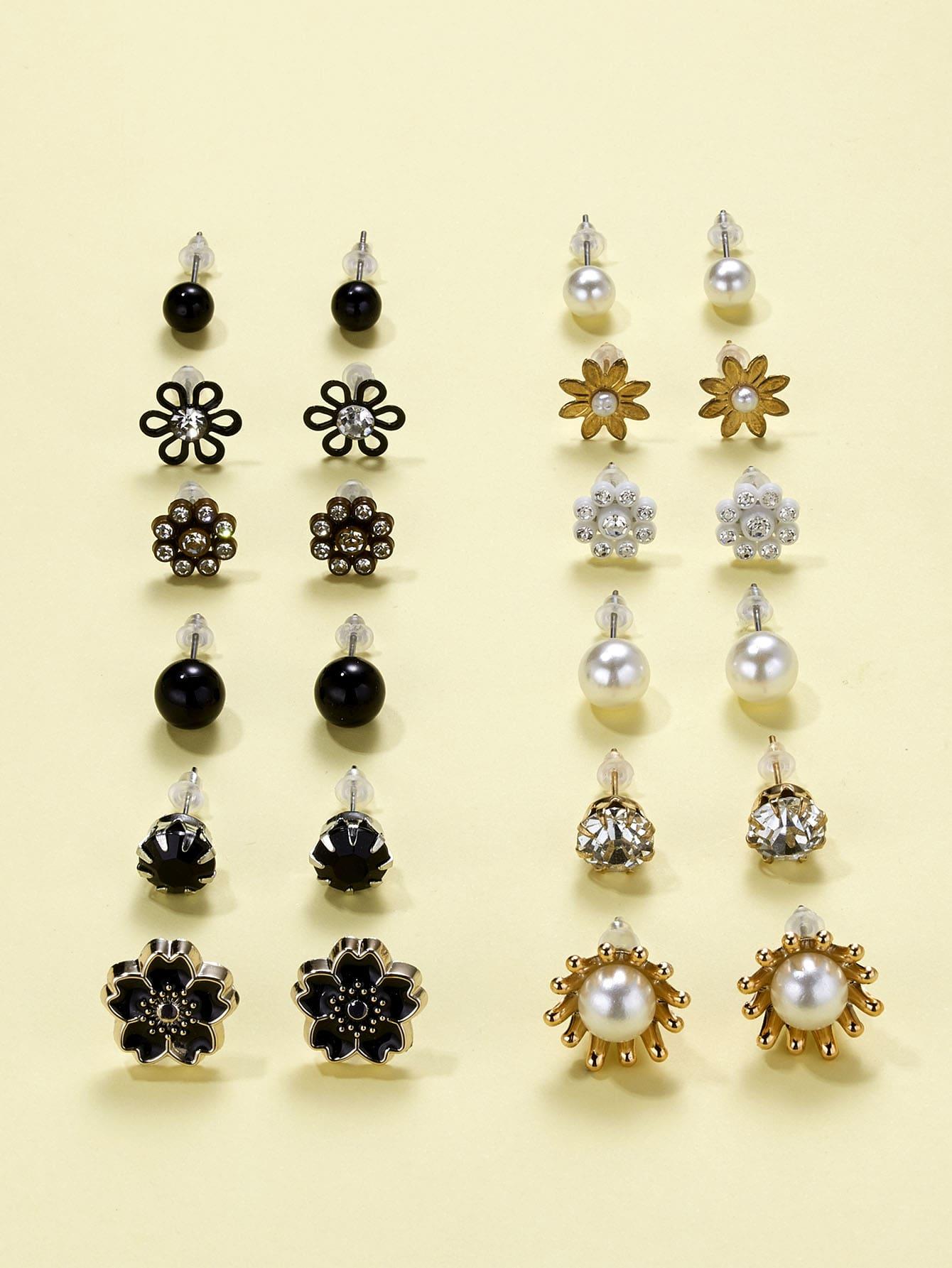 12pairs Faux Pearl Decor Flower Design Stud Earrings thumbnail
