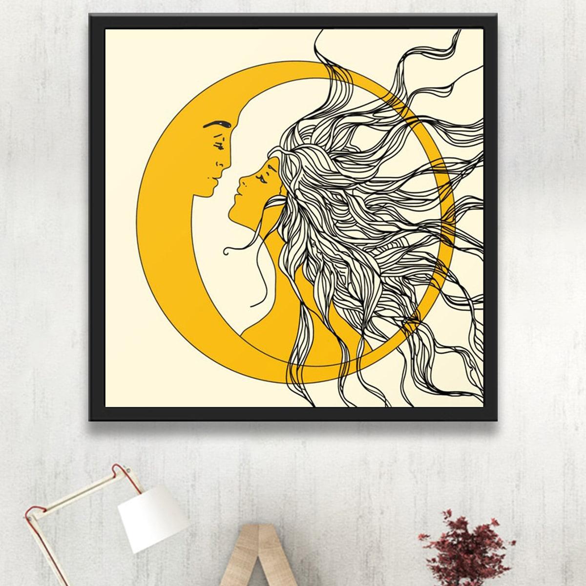 Алмазная картина с рисунком солнца и луны