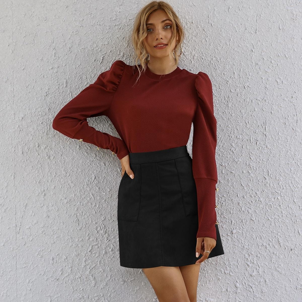 Однотонная юбка с карманом