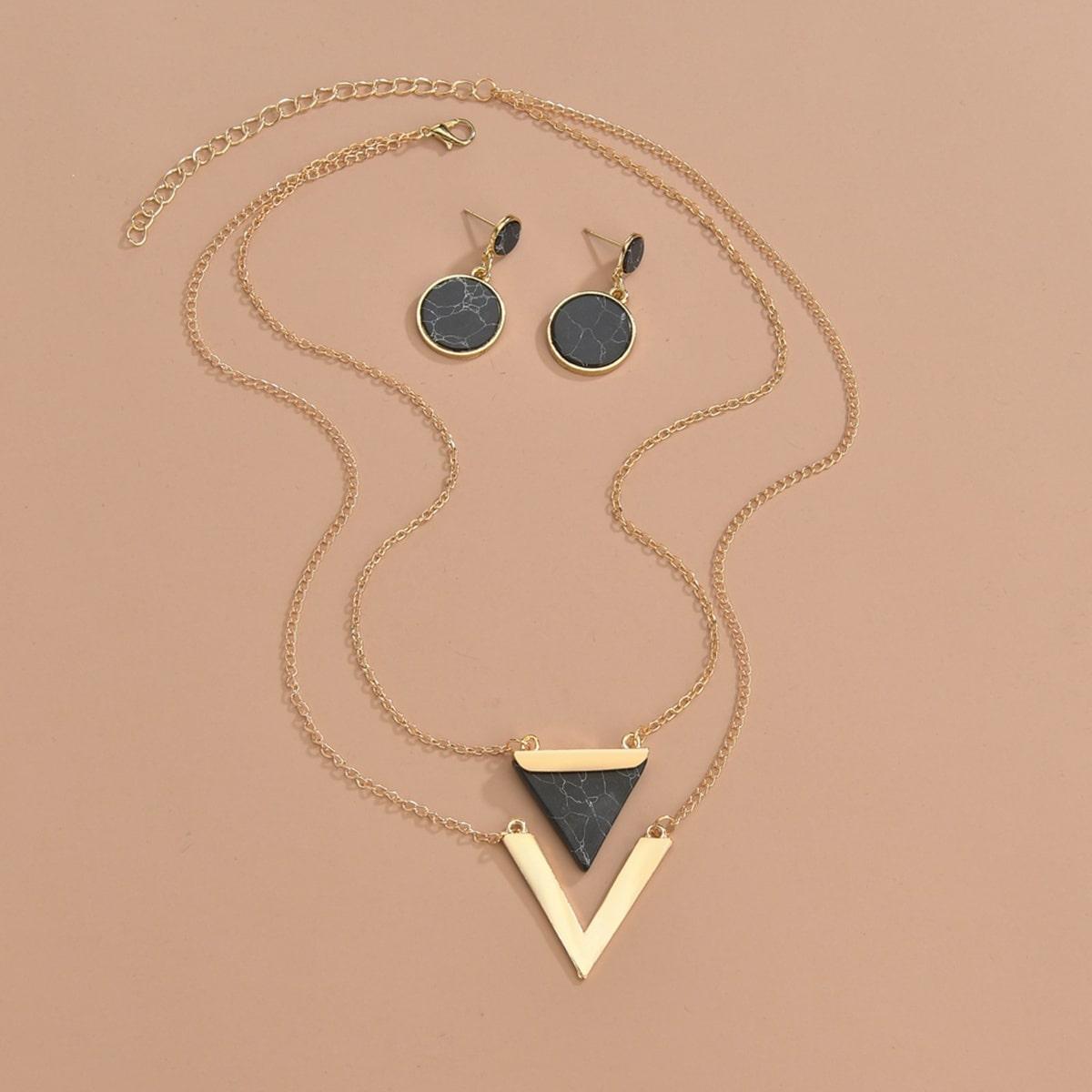 3 Stücke Schmuck Set mit Marmor Muster und geometrischem Dekor