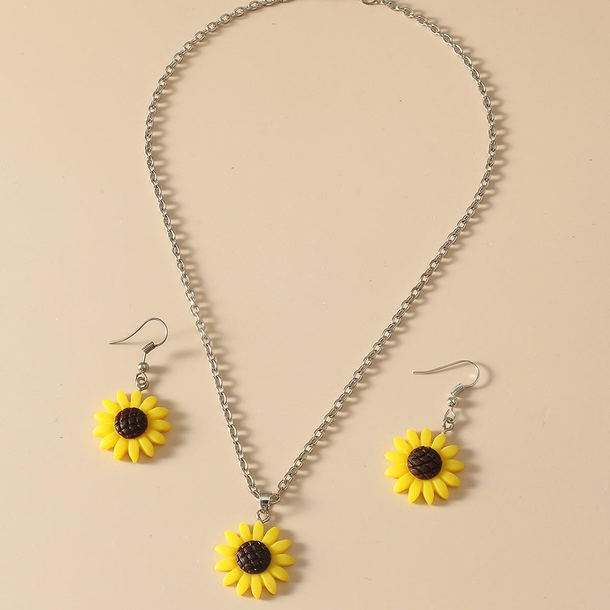 3 Stücke Schmuck Set mit Sonnenblumen Dekor