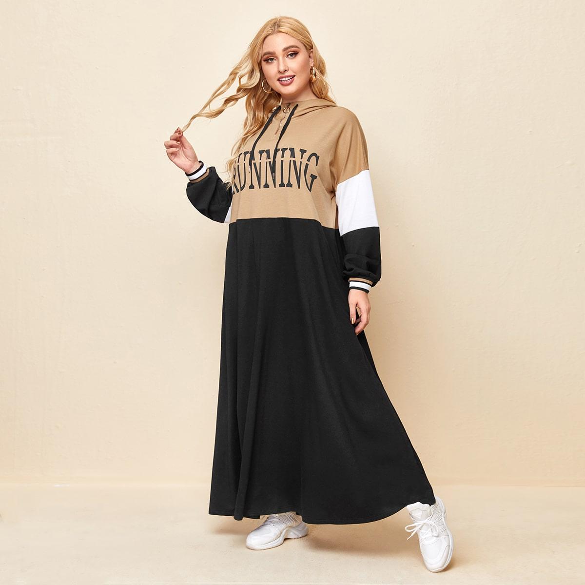 Контрастное платье на молнии с капюшоном и текстовым принтом размера плюс