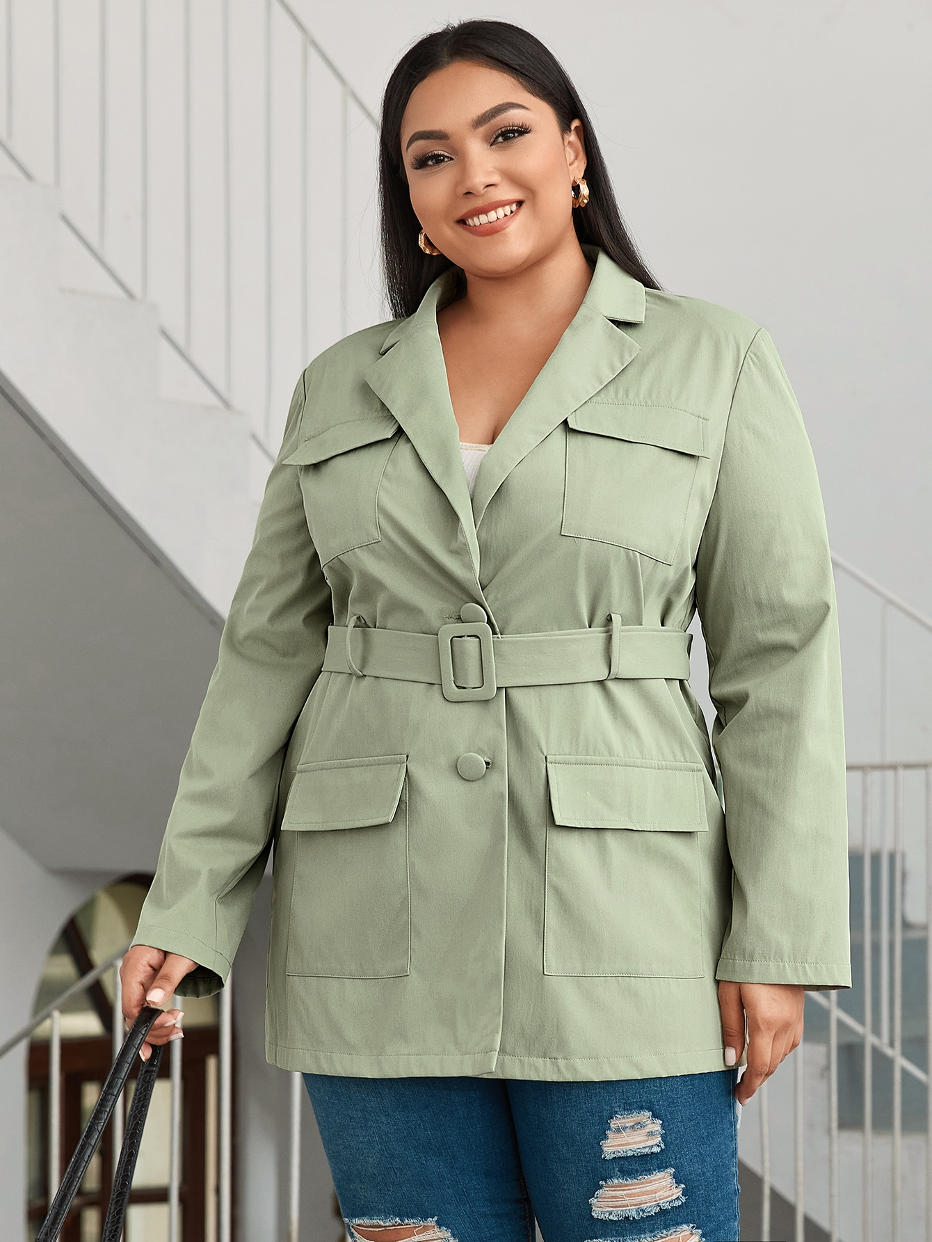 Plus Notched Collar Pocket Patched Buckle Belted Blazer thumbnail