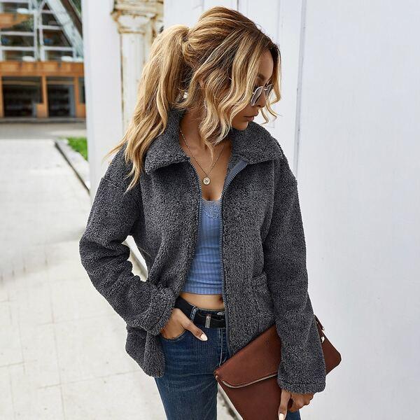 Zip Up Drop Shoulder Teddy Coat, Dark grey