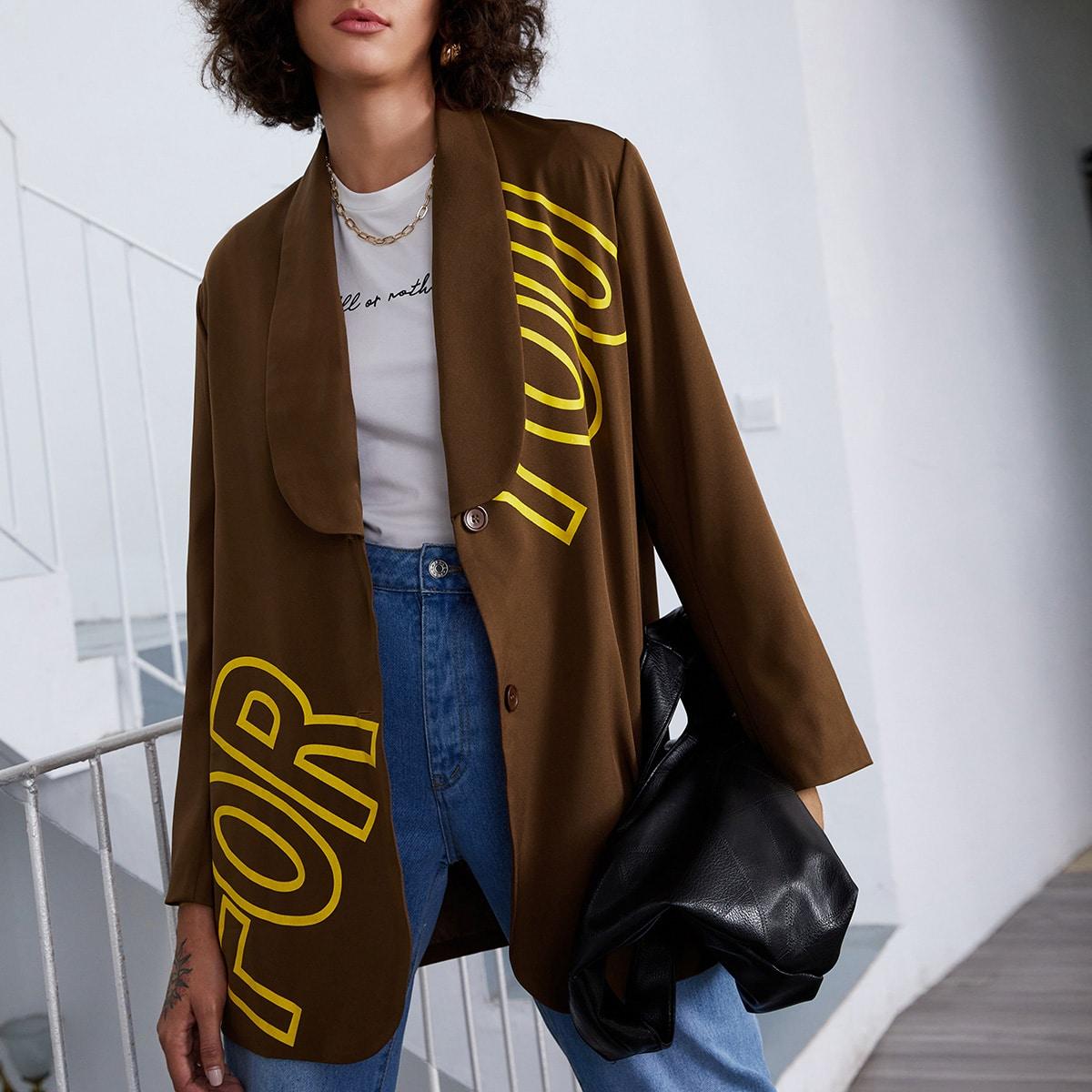 Пиджак с текстовым принтом и шалевым воротником