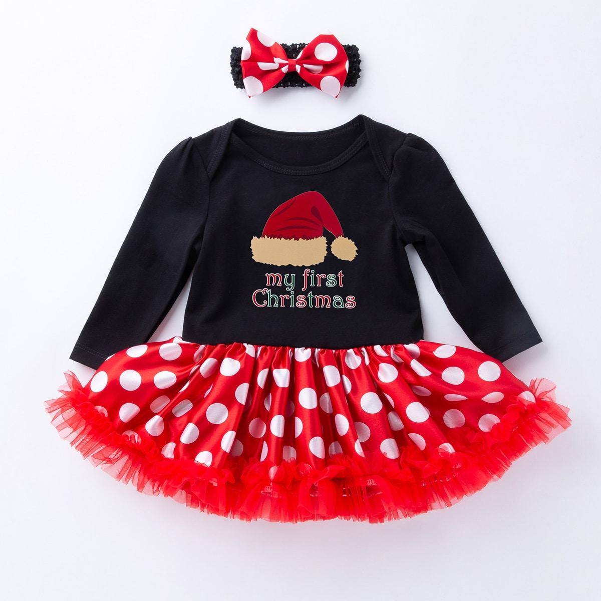 С бантом в горошек очаровательный платья для малышей
