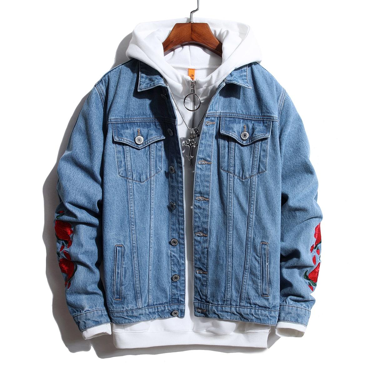 Мужская джинсовая куртка с цветочной вышивкой без толстовки