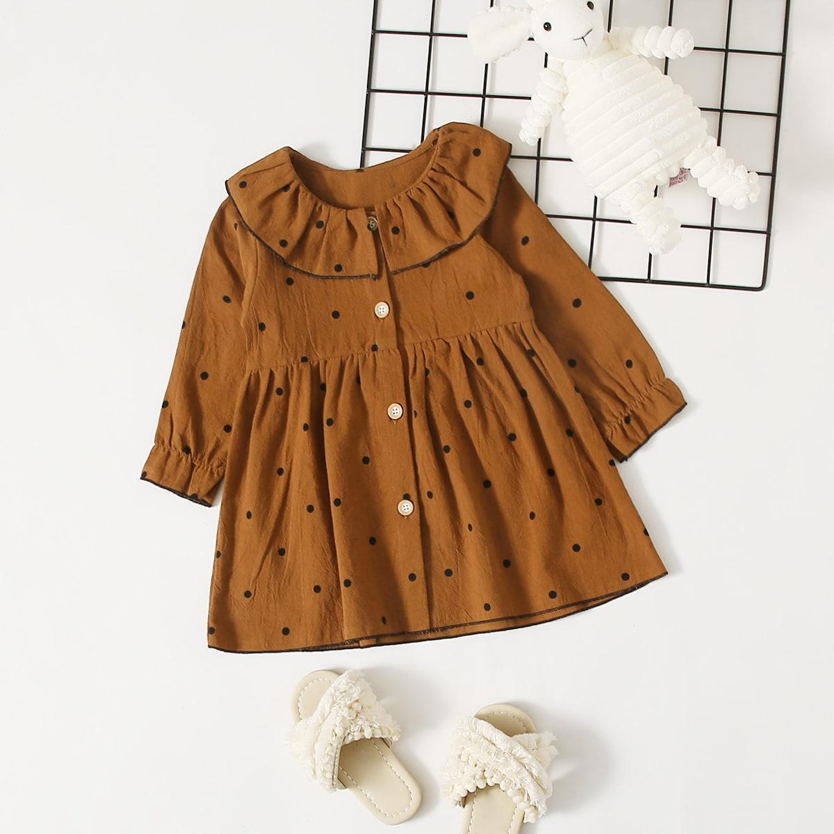 SHEIN Schattig Stippen Baby-jurk Voorpand met Knoopjes