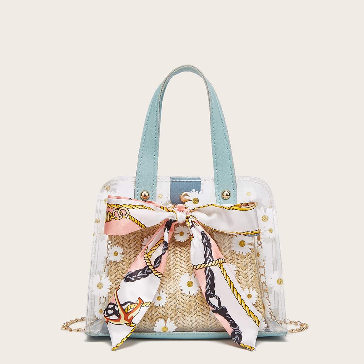Прозрачная плетеная двойная сумка