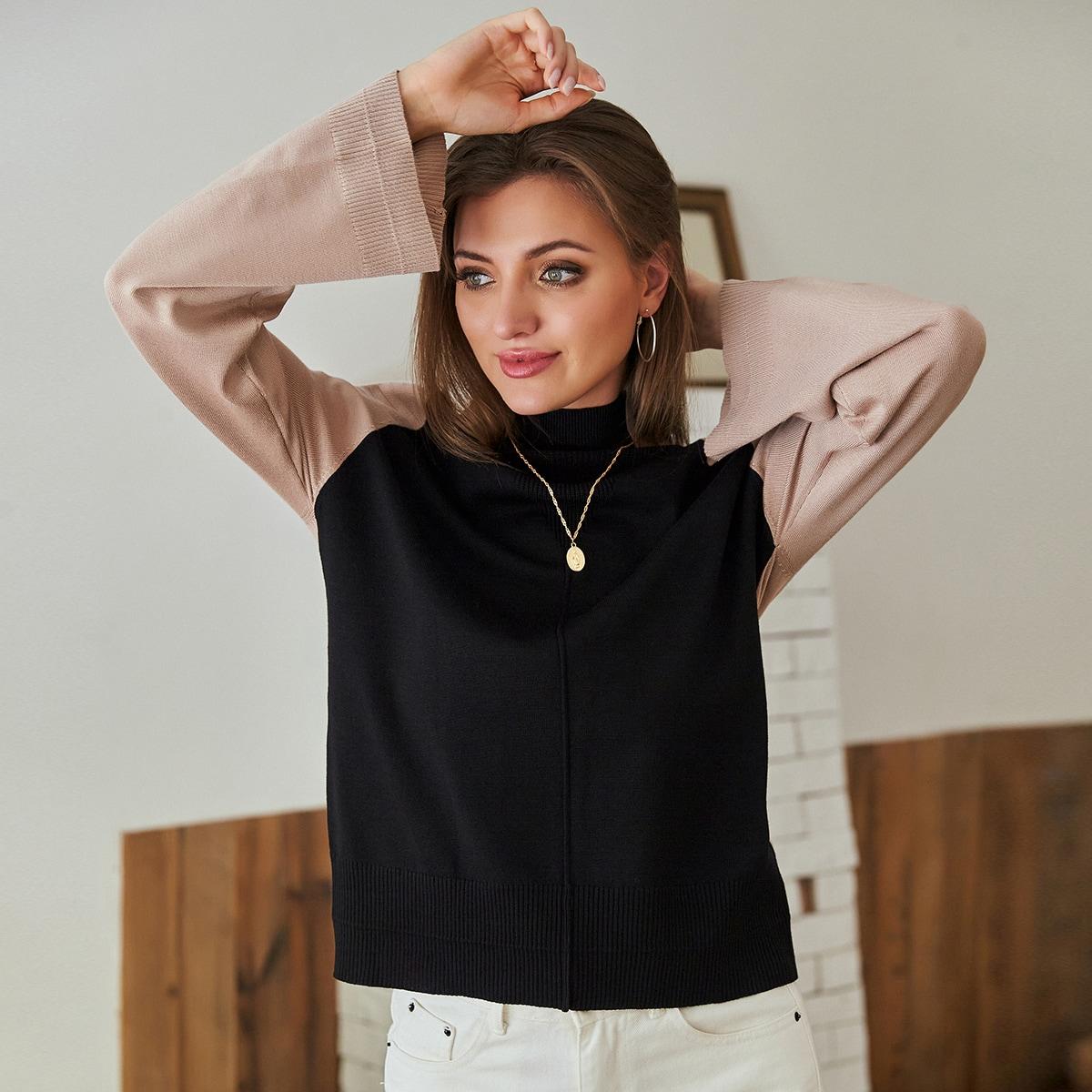 контрастный свитер с рукавом реглан