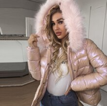 Fuzzy Hooded Puffer Coat