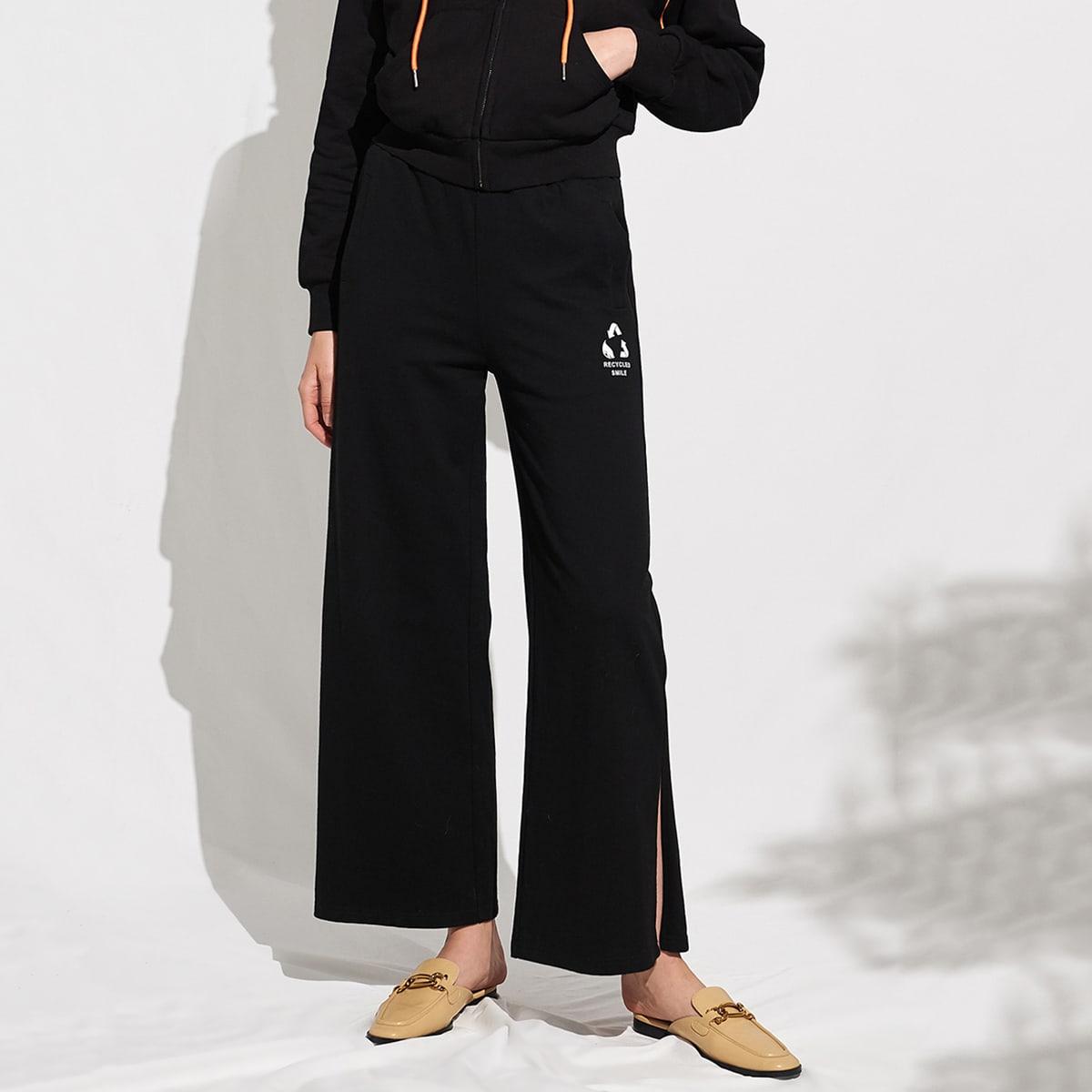 Широкие брюки из хлопка с текстовым принтом